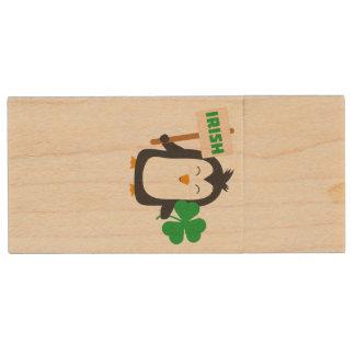 Irish Penguin with shamrock Zjib4 Wood USB Flash Drive