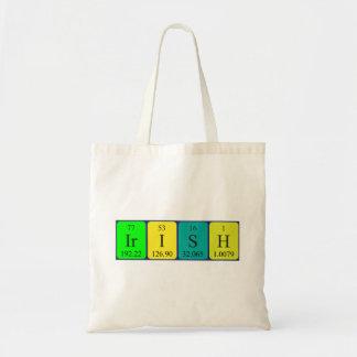 Irish periodic table patriotic tote bag