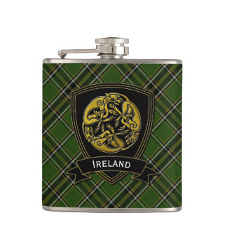 Irish Plaid Celtic Symbol Hip Flask