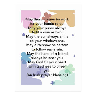 Irish Prayer Blessing Postcard