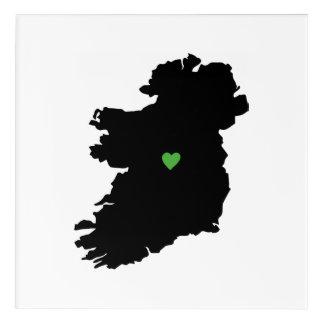 Irish Pride Heart Map of Ireland Acrylic Wall Art
