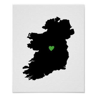 Irish Pride Heart Map of Ireland Poster