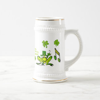 Irish Prince Cute Cartoon Frog Shamrock Stein