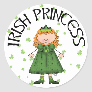 Irish Princess Redhead Round Stickers