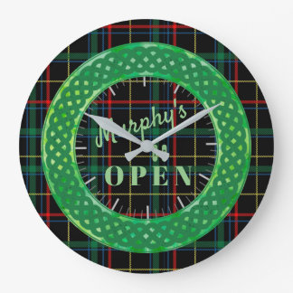 Irish Pub Style Plaid Large Clock