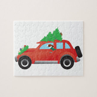 Irish Red and White Dog Driving a Christmas Car Puzzles