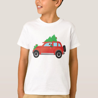 Irish Red and White Dog Driving a Christmas Car T-Shirt