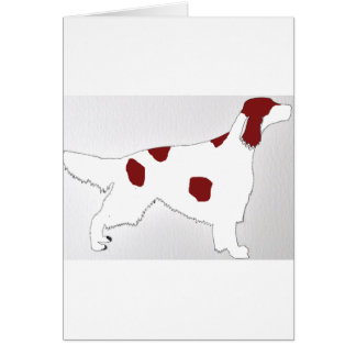 irish red and white setter color silhouette card