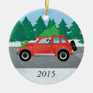 Irish Red and White Setter Driving Christmas Car Ceramic Ornament