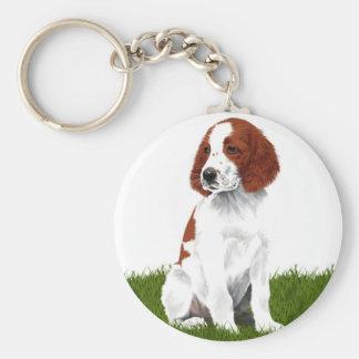 Irish Red and White Setter Puppy Keychain