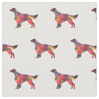 Irish Red and White Setter Silhouette Tiled Multi Fabric