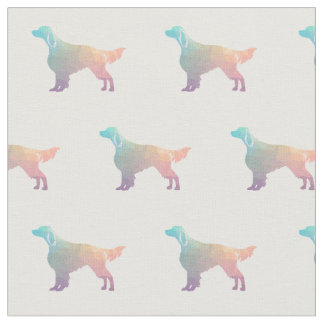 Irish Red and White Setter Silhouette Tiled Pastel Fabric