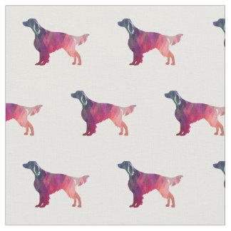 Irish Red and White Setter Silhouette Tiled Pink Fabric