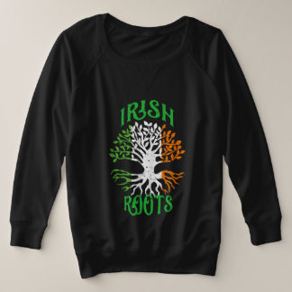 Irish Roots Heritage Tree Flag of Ireland Plus Size Sweatshirt