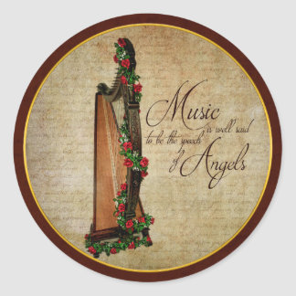 Irish Rose Harp Sticker