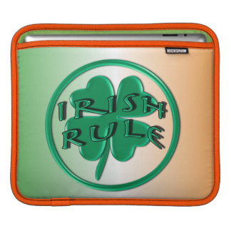 Irish Rule - Ireland Colors and Shamrock iPad Sleeve