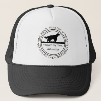 Irish setter and mark trucker hat