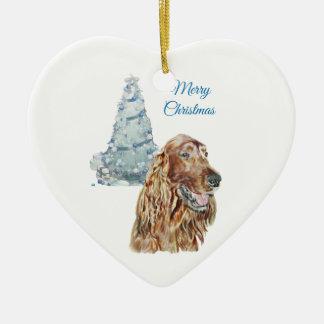 Irish Setter Ceramic Heart Ornament