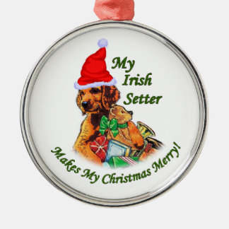 Irish Setter Christmas Silver-Colored Round Ornament