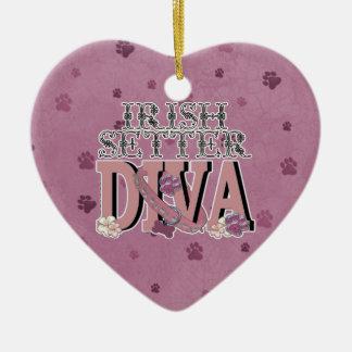 Irish Setter DIVA Ceramic Heart Ornament