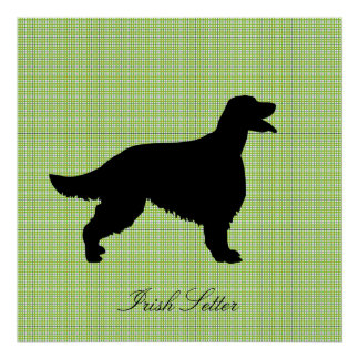 Irish Setter dog black silhouette poster, print