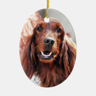 Irish Setter Dog Ceramic Oval Ornament