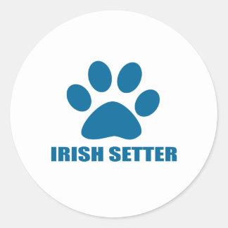 IRISH SETTER DOG DESIGNS CLASSIC ROUND STICKER