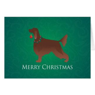 Irish Setter Dog Merry Christmas Design Card