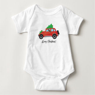 Irish Setter Driving a Car with a tree on top. Baby Bodysuit