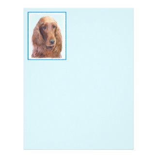 Irish Setter Painting - Cute Original Dog Art Letterhead