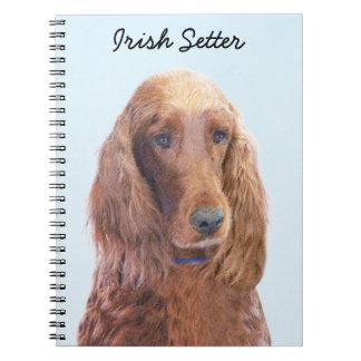Irish Setter Painting - Cute Original Dog Art Notebook