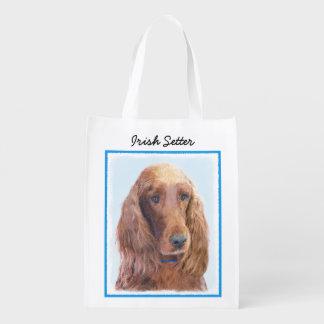 Irish Setter Painting - Cute Original Dog Art Reusable Grocery Bag