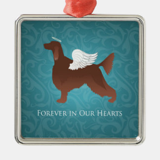 Irish Setter Pet Memorial Angel Dog Design Metal Ornament