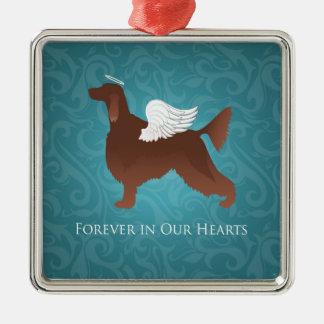 Irish Setter Pet Memorial Angel Dog Design Silver-Colored Square Ornament