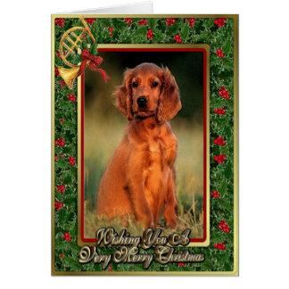 Irish Setter Puppy Dog Blank Christmas Card