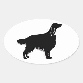 irish setter silhouette oval sticker