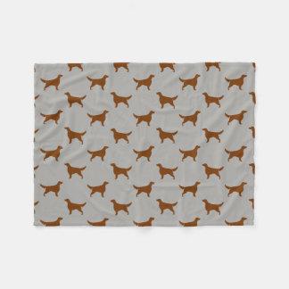 Irish Setter Silhouettes Pattern Fleece Blanket