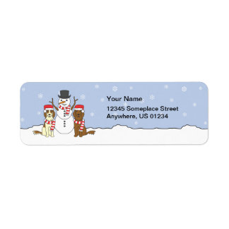 Irish Setters and Snowman