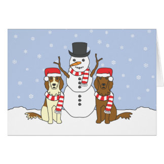 Irish Setters and Snowman Card