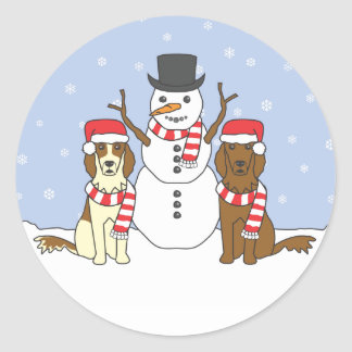 Irish Setters and Snowman Classic Round Sticker