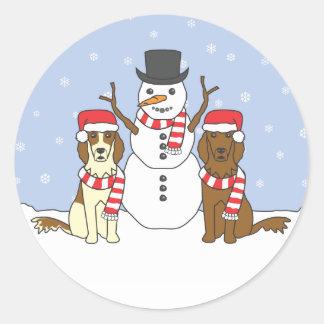 Irish Setters and Snowman Round Sticker