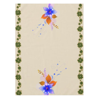 Irish Shamrock and Blue Meadow Flowers Tablecloth