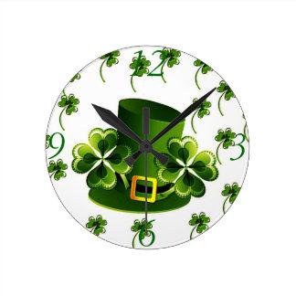 Irish Shamrock Art Round Clock