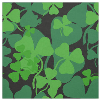 Irish shamrock, black, clover fabric print 10b