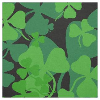 Irish shamrock, black, clover fabric print 10c