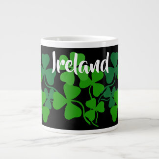 Irish shamrock, black, clover, Ireland coffee 4 Large Coffee Mug