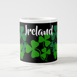 Irish shamrock, black, clover, Ireland coffee Large Coffee Mug