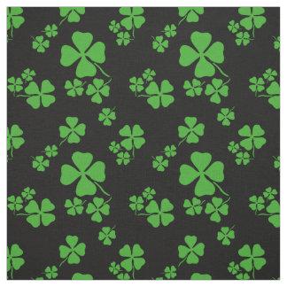 Irish shamrock, black, green clover fabric print