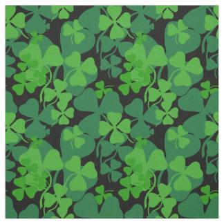 Irish shamrock, black,green clover fabric print 10