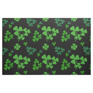 Irish shamrock, black, green clover fabric print 2